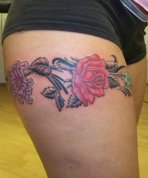 tatouage cuisse bracelet fleur | tatoo | pinterest | tatoos, tatoo