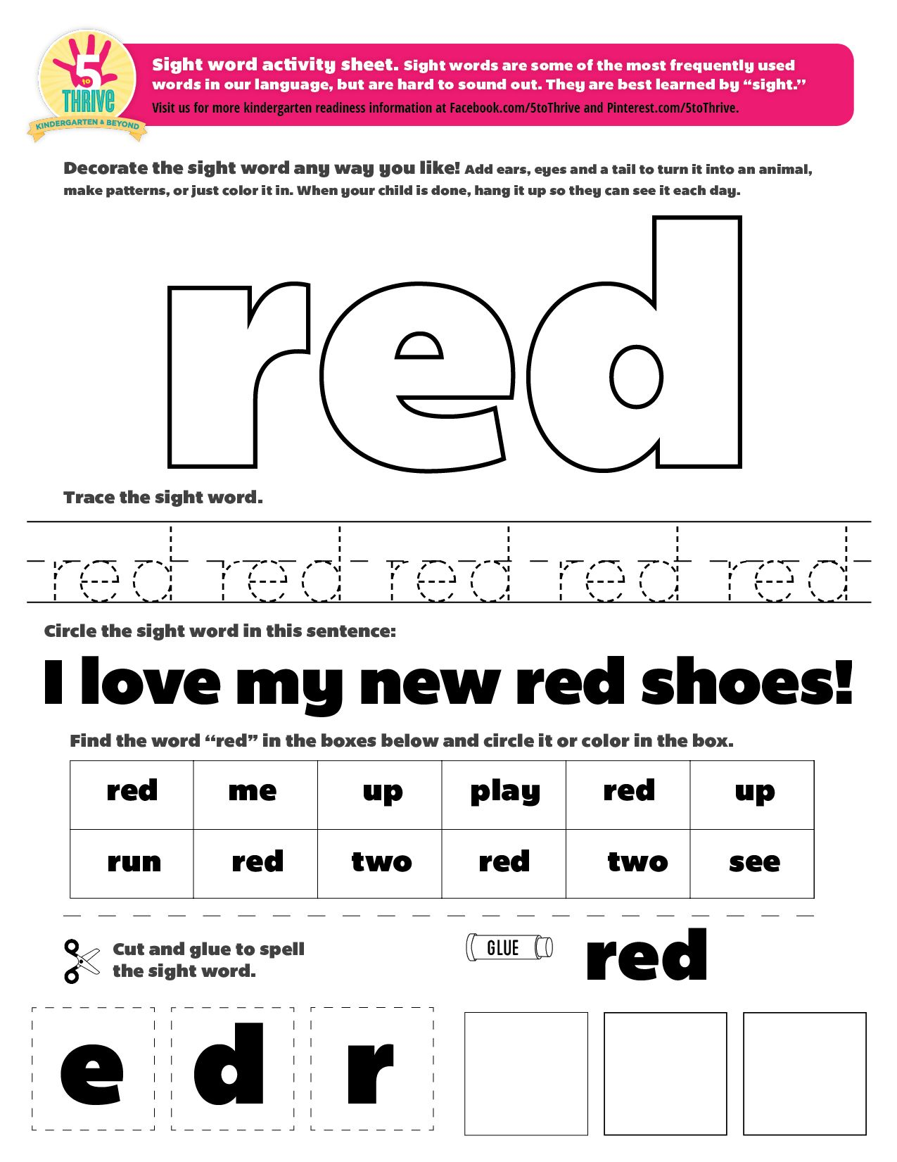 The Sight Word This Week Is Red Sight Words Are Some Of