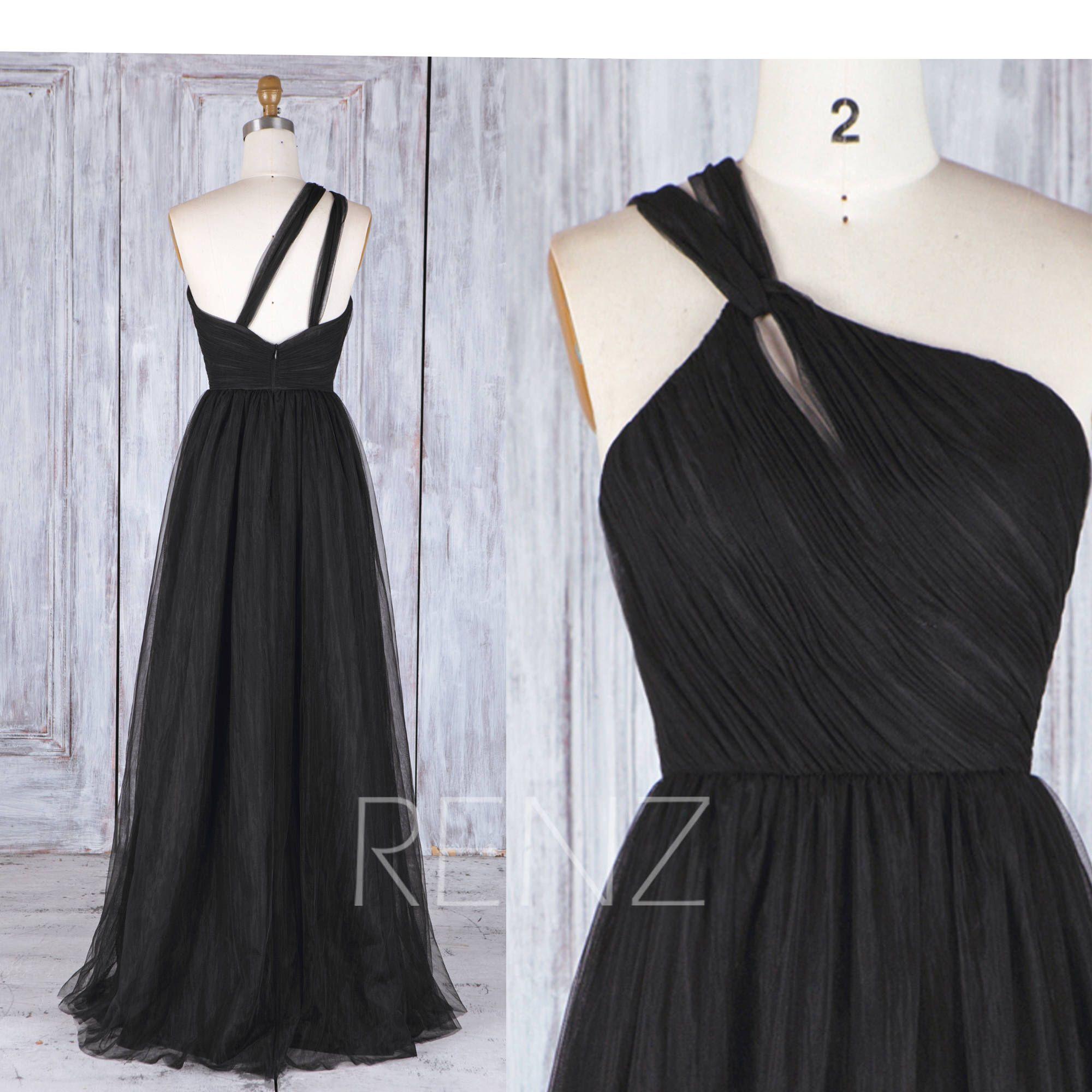 2017 black tulle bridesmaid dress one shoulder wedding dress a 2017 black tulle bridesmaid dress one shoulder wedding dress a line ball gown ombrellifo Choice Image