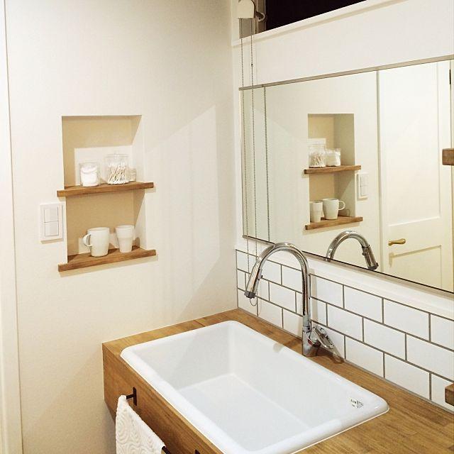 バス トイレ 造作洗面台 医療用シンク サブウェイタイルのインテリア