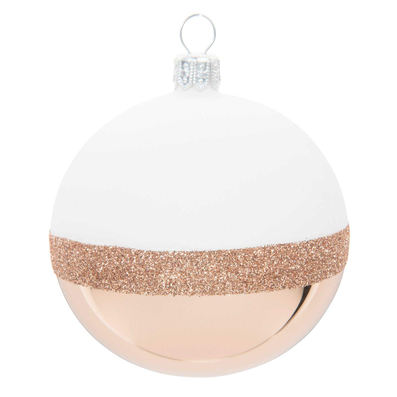 Weihnachtskugel Aus Glas Weiss Und Kupferfarben