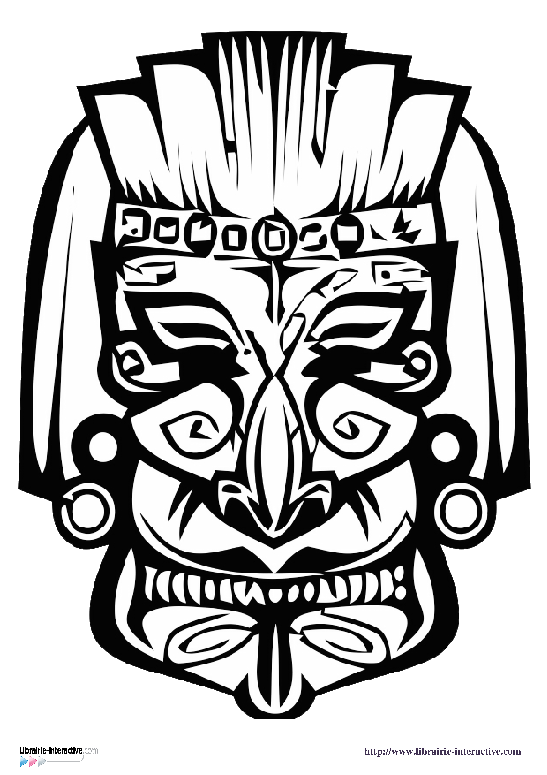 Coloriage Masque Africain - image 9 | Masques africains, Symboles mayas, Coloriage masque