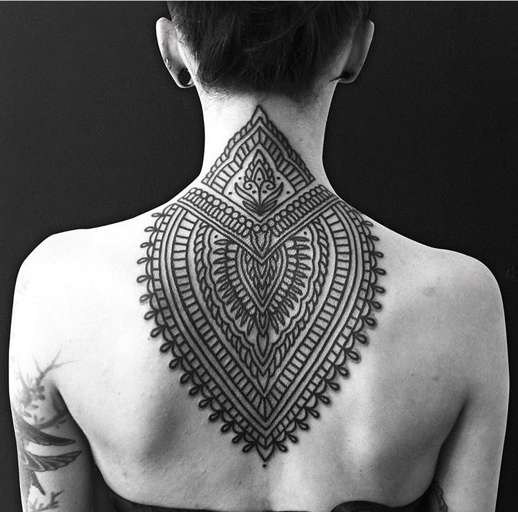 Neck And Jaw Tattoo: Ornamental Tattoo Neck And Upper Back Tattoo By Sollyrose
