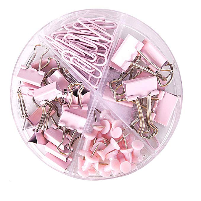 Amazon Com Paper Clips And Binder Clips Push Pins Set And Holder Syitem Non Skid Map Tacks T Pink Office Supplies School Accessories Dollar Store Organizing