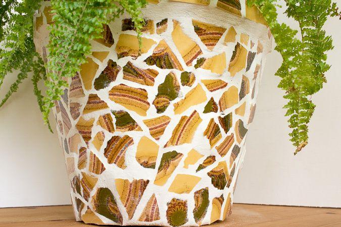 Upcycling Blumentopf Mit Mosaik Aus Alten Fliesen Air Drying Clay - Alte mosaik fliesen