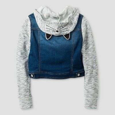 d6e725471bf Girls' French Terry Jean Jacket with Ears - Cat & Jack Medium Blue M ...
