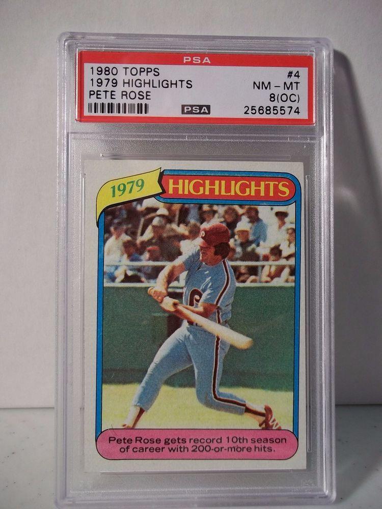 1980 topps pete rose psa nmmt 8oc baseball card 4 mlb