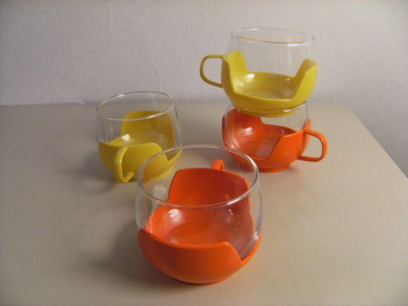 Otros  BowleGlser 4er Set gelb und orange  hecho a mano por wiejetzt en DaWanda  Vintage  Cocina comedor Comedores Tiendas