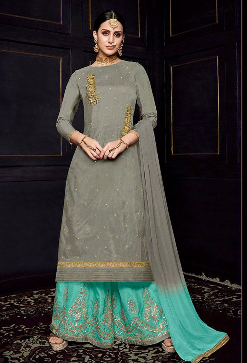 e5bfc99130 Grey Uppada Silk Designer Pakistani Palazzo Suit #palazzosuit  #palazzosuitonline #onlinepalazzosuit #dress #onlineindiandress  #sale#nikvik #freeshipping ...