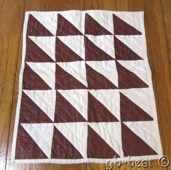 """Antique PA Flying Geese Doll Table QUILT Glazed Brown EARLY 17 x 14"""""""