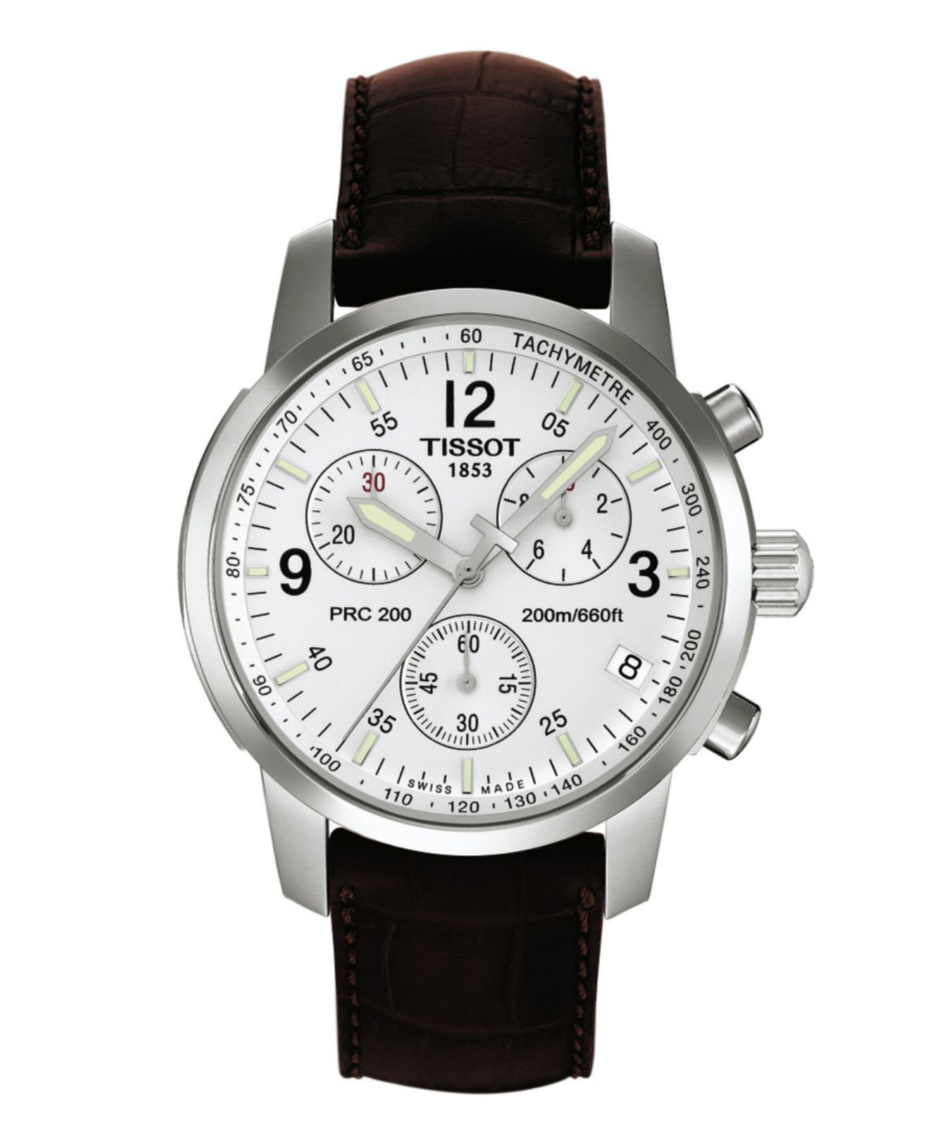 Tissot Watch, Men's Swiss Chronograph PRC 200 Brown Leather Strap T17151632 - All Watches - Jewelry & Watches - Macy's