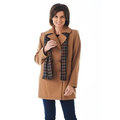 $59, Brown Pea Coat: Forecaster Double Breasted Scarf Coat. Sold by Boscov's. Click for more info: http://lookastic.com/women/shop_items/93607/redirect
