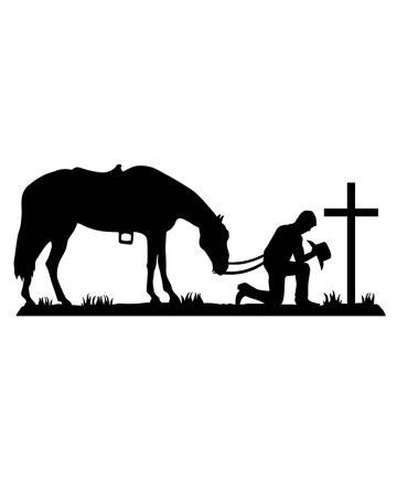 Cowboy Cowgirl Horse Pray Praying Cross Graphic Decal Sticker Vinyl