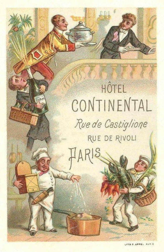 Hotel Continental Paris 1890s Vintage Advertising Art Vintage Travel Posters Vintage Advertising Posters