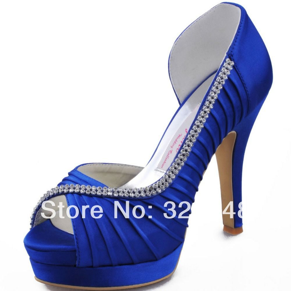 9e7b1ad0b873 Royal Blue Prom Shoes EP11064-IPF Peep Toe Platform High Heel 4.5inch  Rhinestone Pleated Satin Woman Wedding Pumps US  99.99