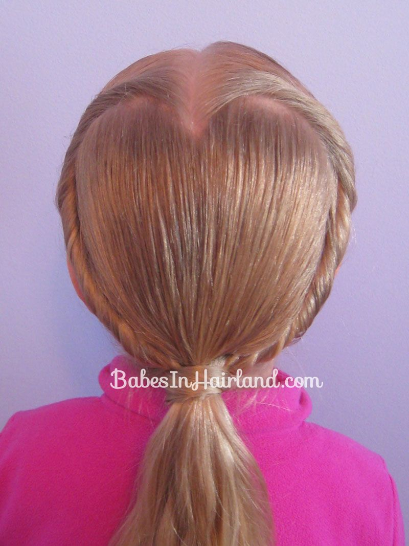Rolled heart valentineus day hairstyle from babesinhairland