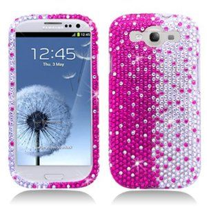 Amazon.com: Aimo SAMI9300PCLDI685 Dazzling Diamond Bling Case for Samsung Galaxy S3 i9300 - Retail Packaging - Pink/White: Cell Phones & Accessories