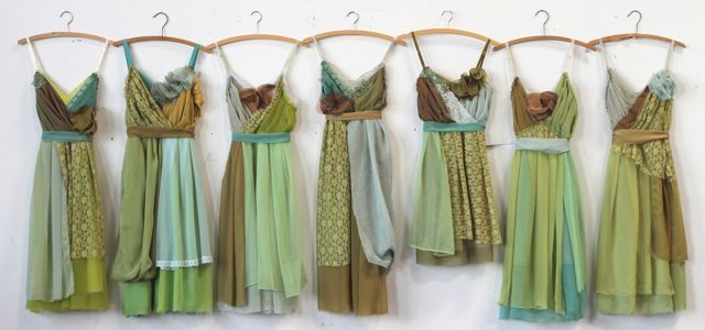 bridesmaids in mint moss forest & lime greens with brown accents