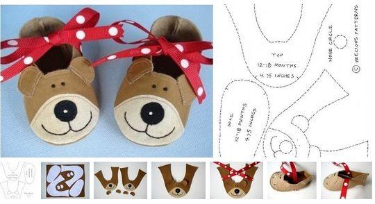 Pantuflas para niños con moldes para imprimir …   niños   …