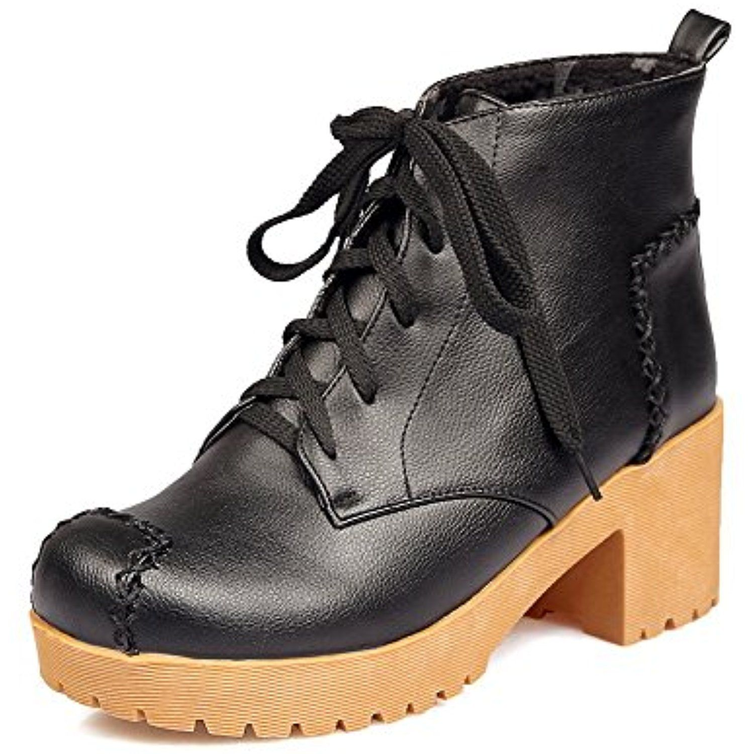 Women's Solid Soft Material Kitten Heels Lace Up Closed Round Toe Boots