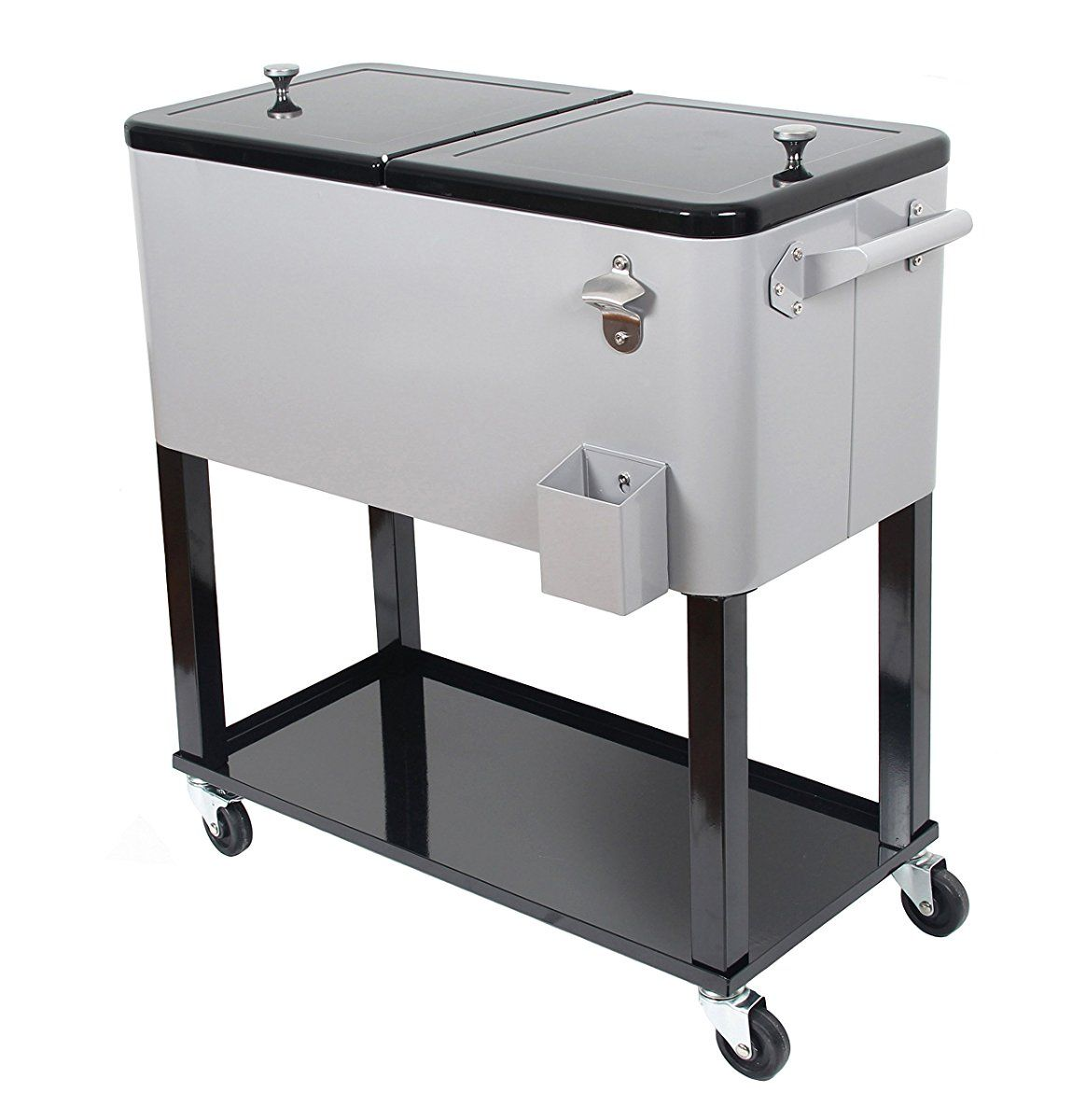 Upha 80 Quart Rolling Ice Chest Portable Party Bar Drink