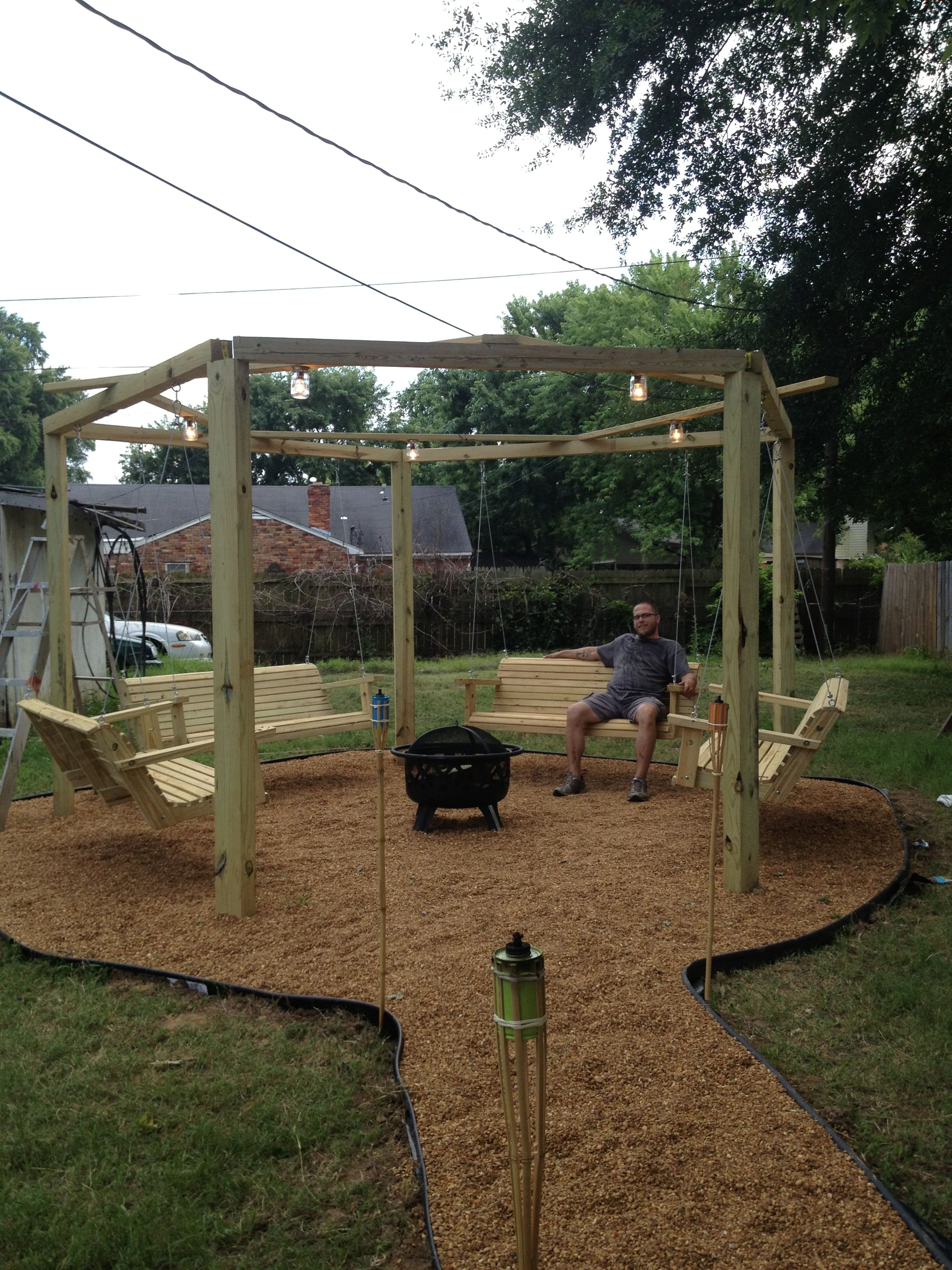 My adult swing set with Fire pit. | Gazebo with fire pit ...
