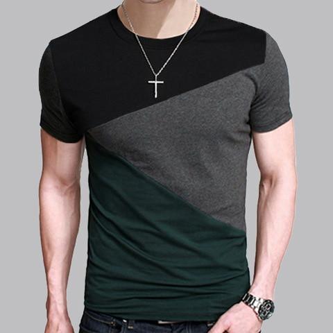 Men Summer Short Sleeve T-Shirt Crew-Neck Basic Cotton Tee Slim Fit Casual Tops