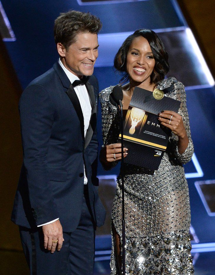 Pin for Later: It Wasn't Just That Stunning Dress That Made Kerry Washington's Emmys Weekend So Great  She hit the stage with Rob Lowe to present an award at the Emmys.