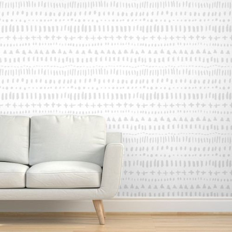 Removable Wallpaper Gray And White Wallpaper Tribal Wallpaper Etsy Grey And White Wallpaper Removable Wallpaper White Wallpaper