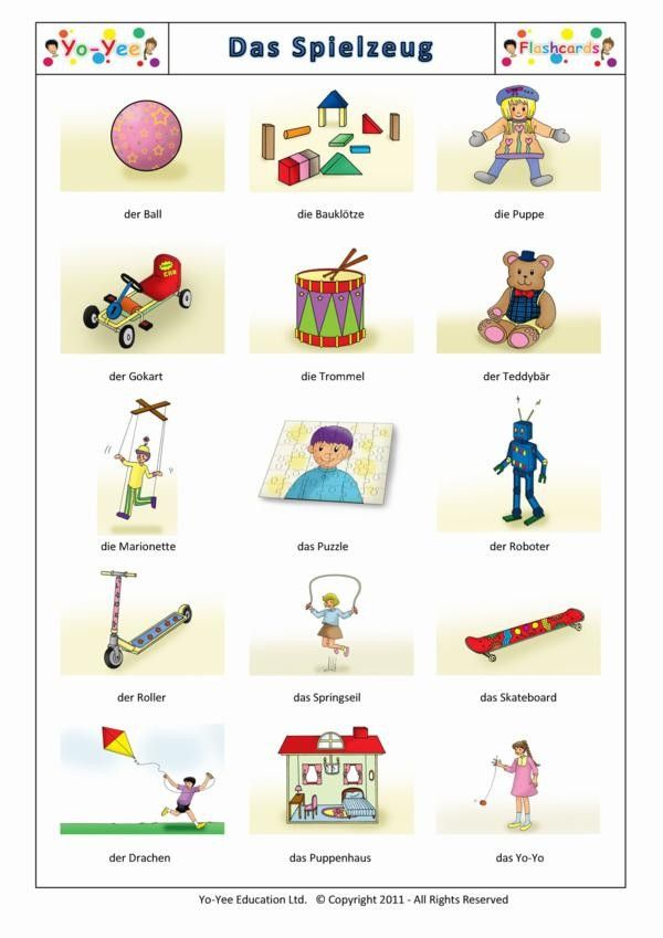 Worksheet German Intermediate For Children Lessons toys flashcards for children das spielzeug teaching young toddlers vocabulary