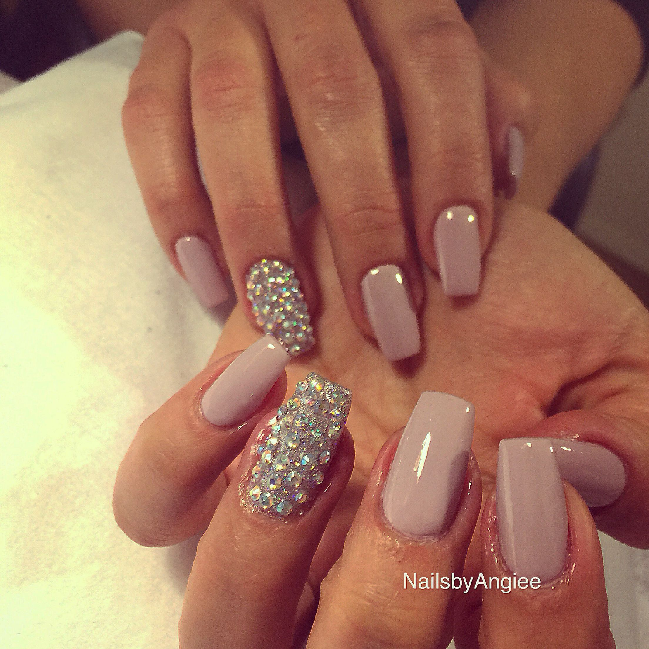 Full Set Acrylic With Light Purple Opi Nail Polish And Swarovski Nail Diamonds 2015 Diamond Nails Purple Nails Nails