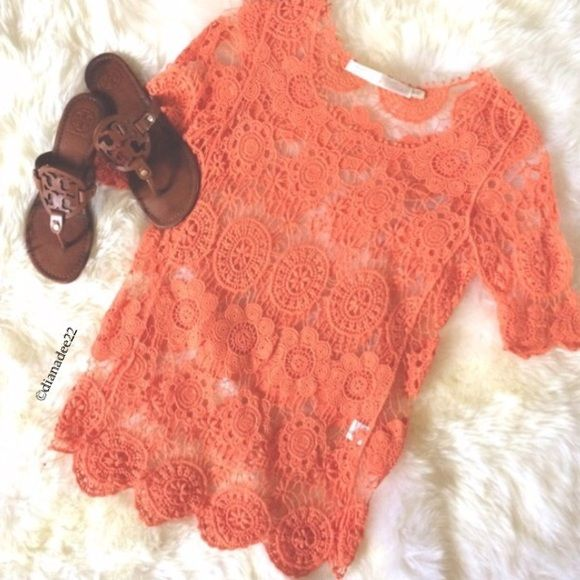 Asos Orange crochet top size s/m 3/4 sleeve Crochet top brand new without tags perfect with swimwear has 3/4 sleeves Asos Tops Tees - Long Sleeve