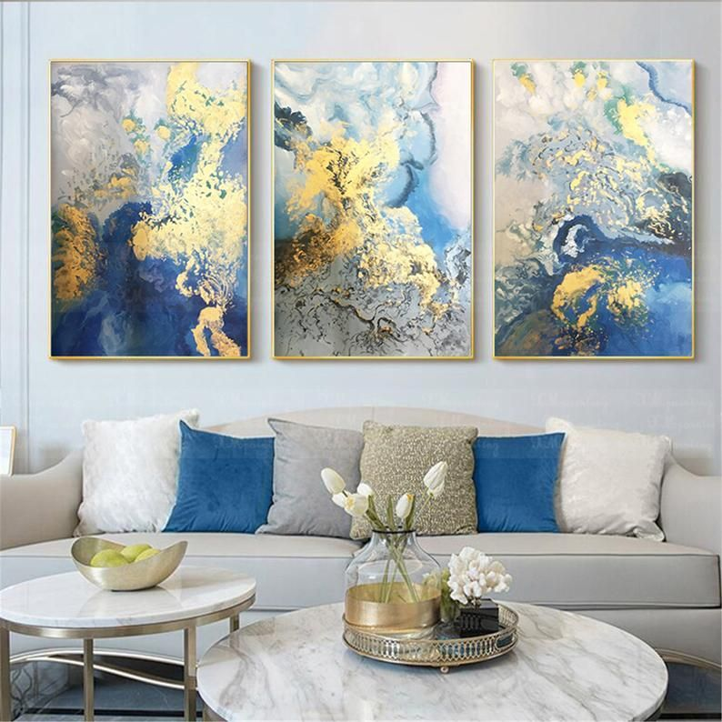 3 Pieces Framed Abstract Painting Wall Art Picture For Living Etsy In 2021 Living Room Pictures Living Room Art Wall Decor Living Room