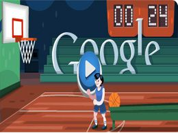 Shoot And Score In Basketball Game At Google Doodle