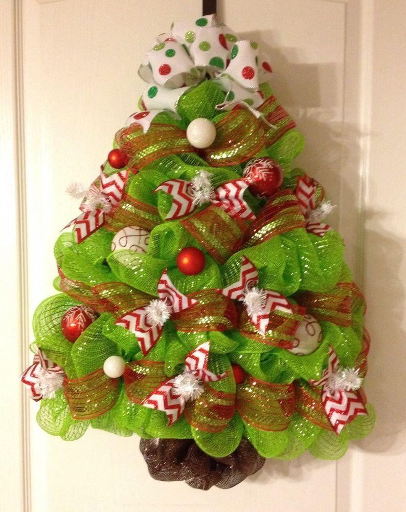 Red Green White Chevron Polka Dot Christmas Tree Deco Mesh Wreath Door Hanger Mesh Christmas Tree Christmas Wreaths Diy Diy Christmas Tree