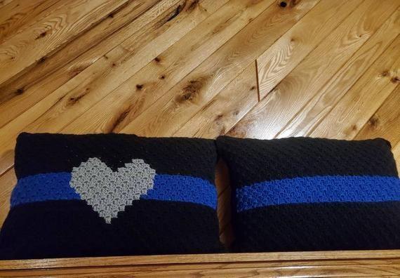 Blue line pillow - Thin blue line pillow - Crocheted pillow - Standard size pillow - K9 Pillow - Police dog pillow