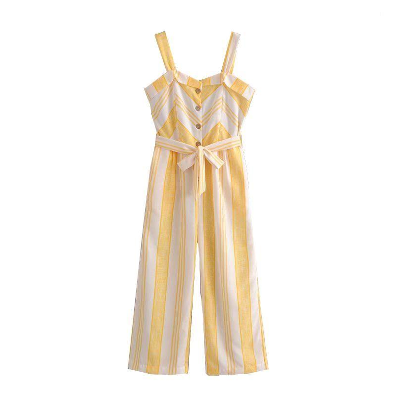 66ff34338d5b Le Palais Vintage s Jaune   Blanc Striped Cotton Linen Blend Jumpsuit