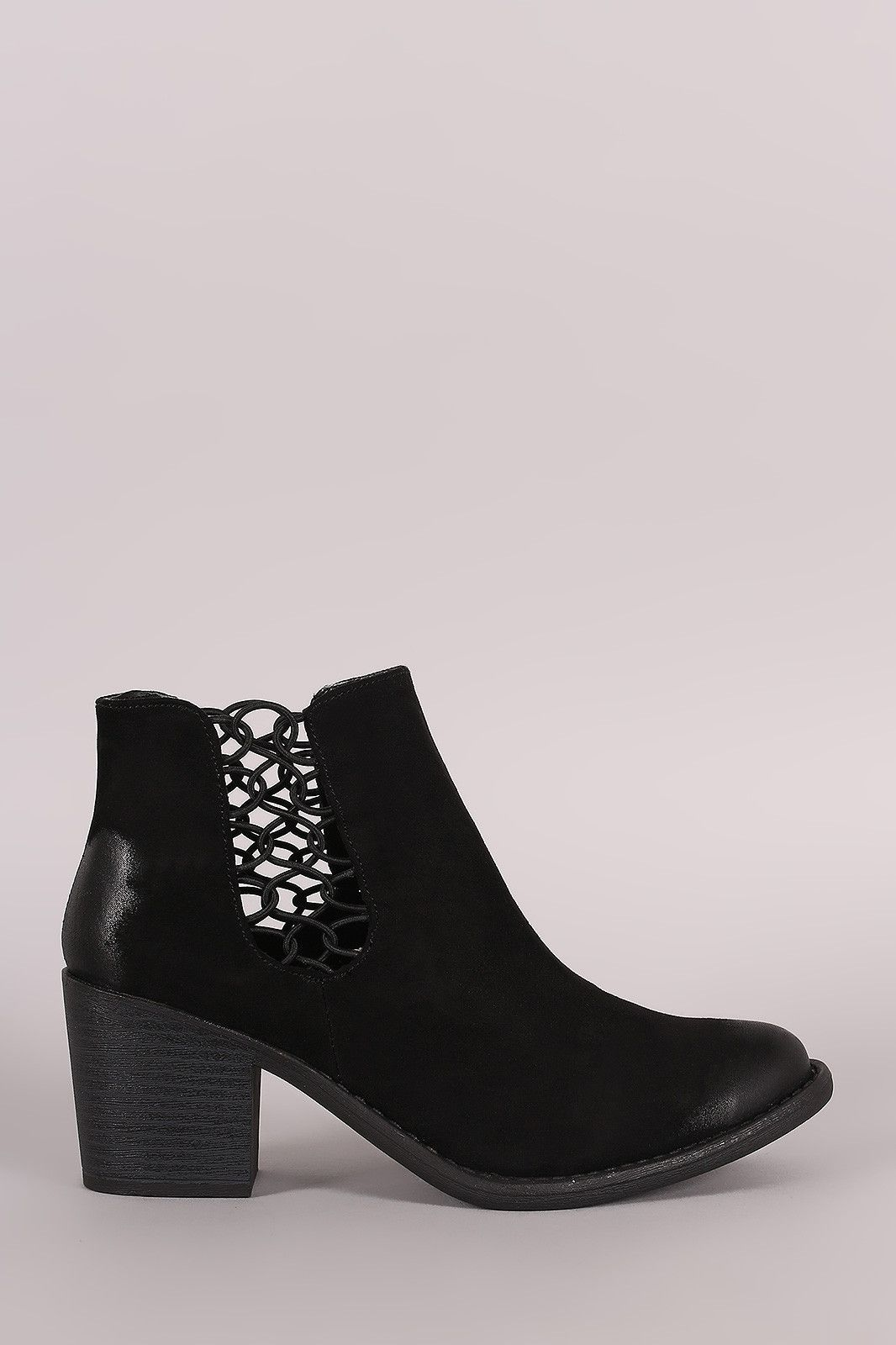Qupid Women Black Cutout Lace Up Open Toe Booties Faux Suede