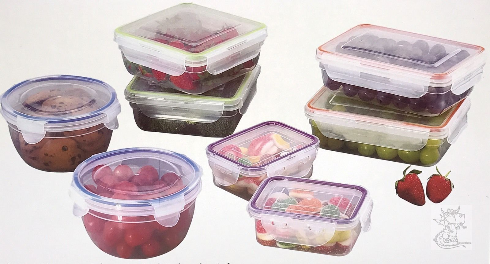 Clip Lock Storage Containers Set of 16 Family Chef New Pins You