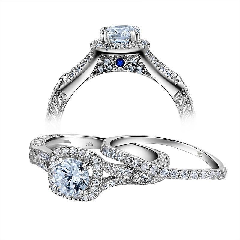 Newshe Jewelry Set 925 Sterling Silver Oval Blue Sapphire Ring Pendant Earrings