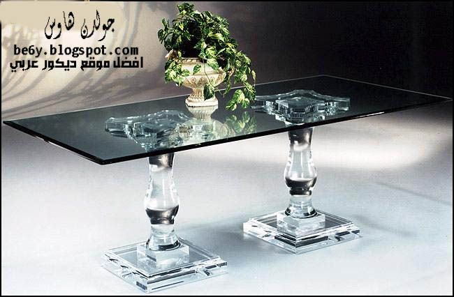 اثاث زجاجى طاولات وكراسي سفرة زجاجية Glass Tables Chairs Double Pedestal Dining Table Pedestal Dining Table Dining Table
