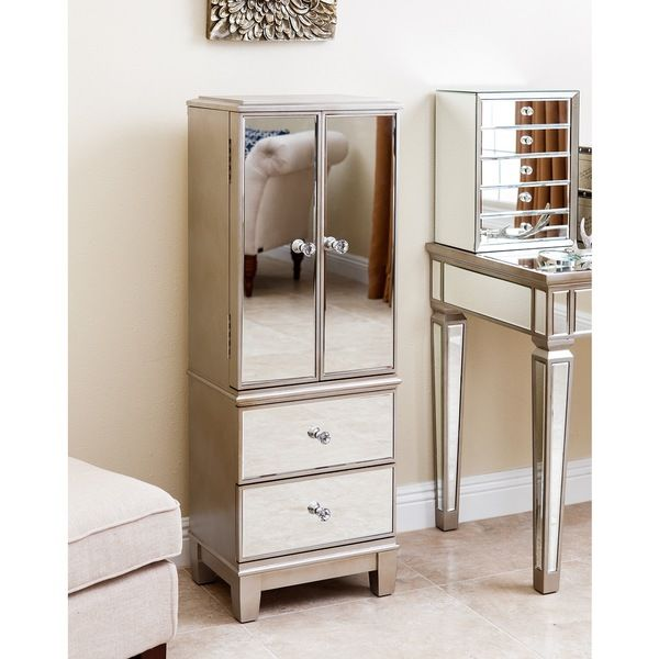 Abbyson Living Sophie Mirrored Jewelry Armoire | Jewelry Armoire ...