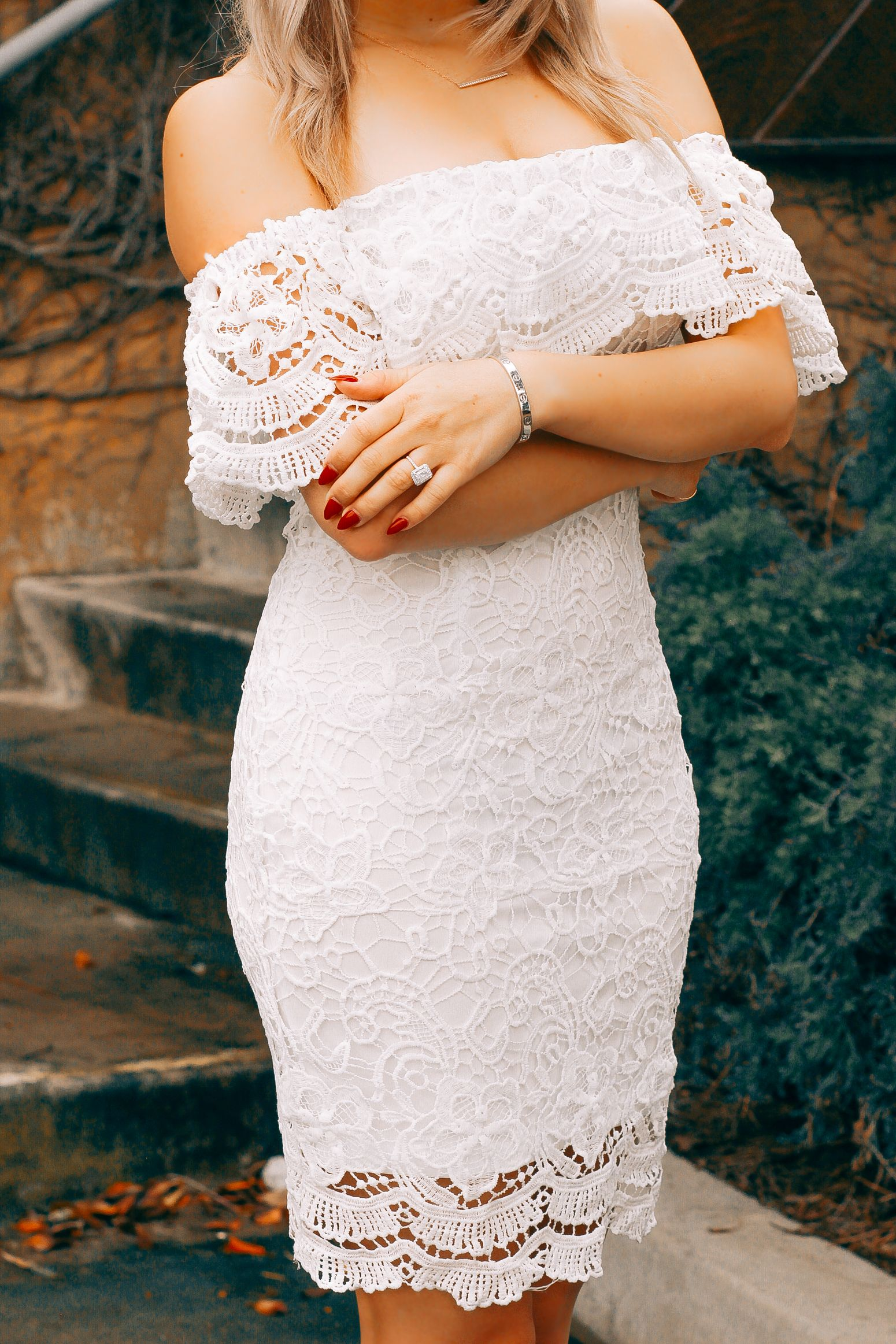 Blon In The City White Lace Bridal Shower Dress