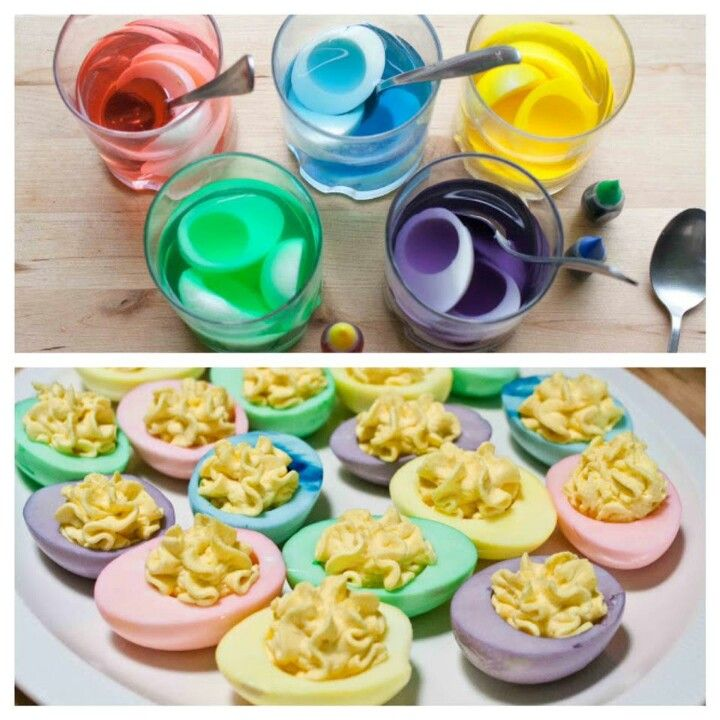 pastel colored devil eggs use easter egg dye once they are already boiled