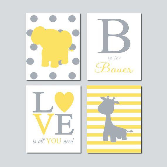 YELLOW GRAY Grey Nursery DECOR Wall Art Elephant Monogram Initial ...