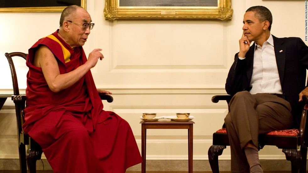 President Barack Obama meets with Dalai Lama in the Map Room of the White House in July 2011.