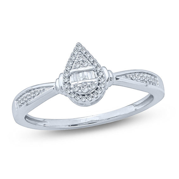 1 10 Ct T W Composite Diamond Pear Shaped Frame Collar Promise Ring In 10k White Gold Promise Rings White Gold Diamond Promise Rings