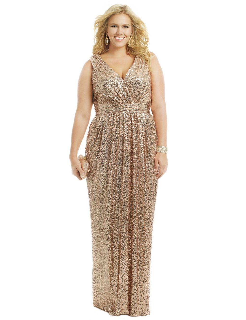 $119-Champagne Rose Gold Sequins Prom Dresses 2016 A Line V Neck ...