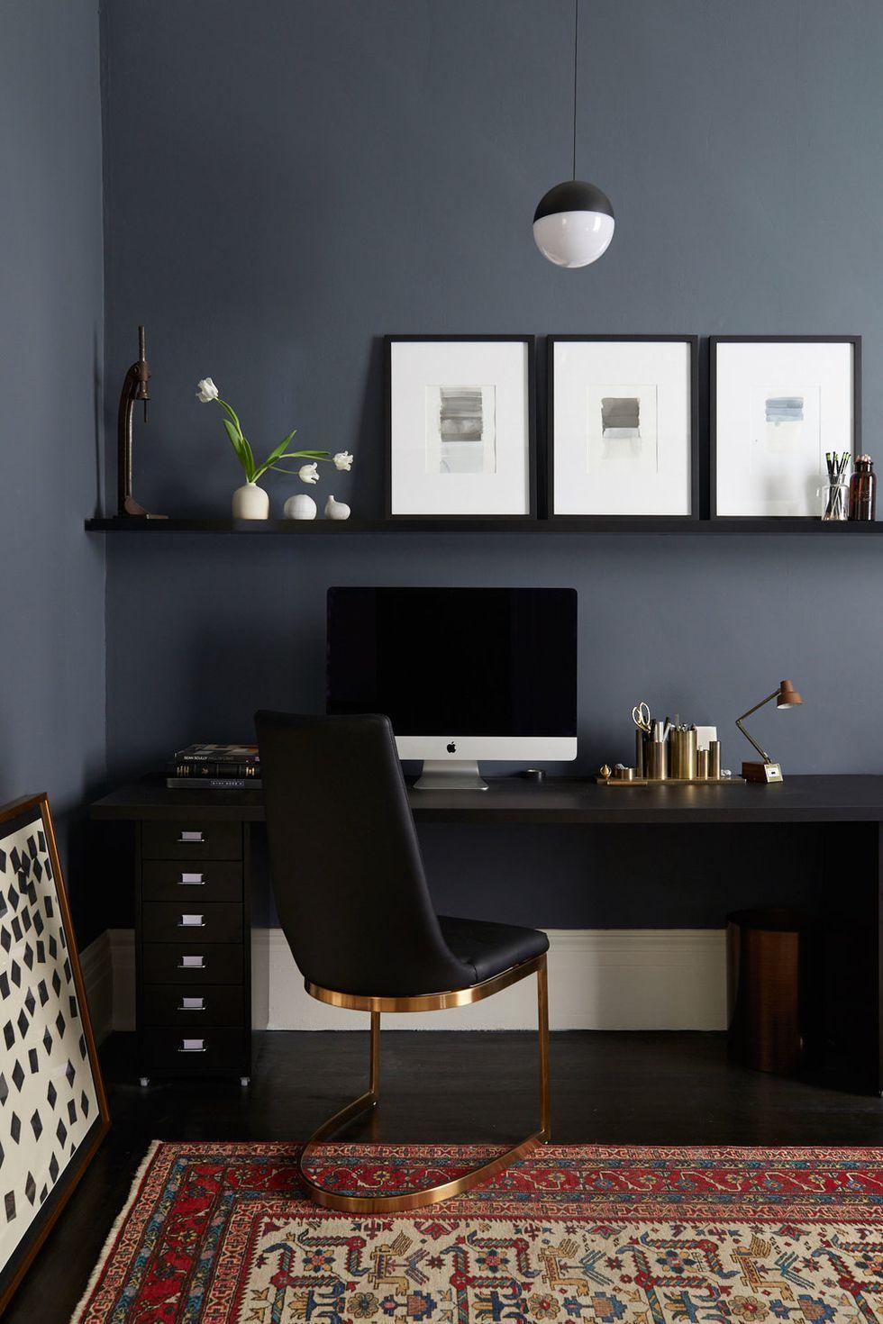 Simple Black Colored Home Office Interior Design Decor Modern