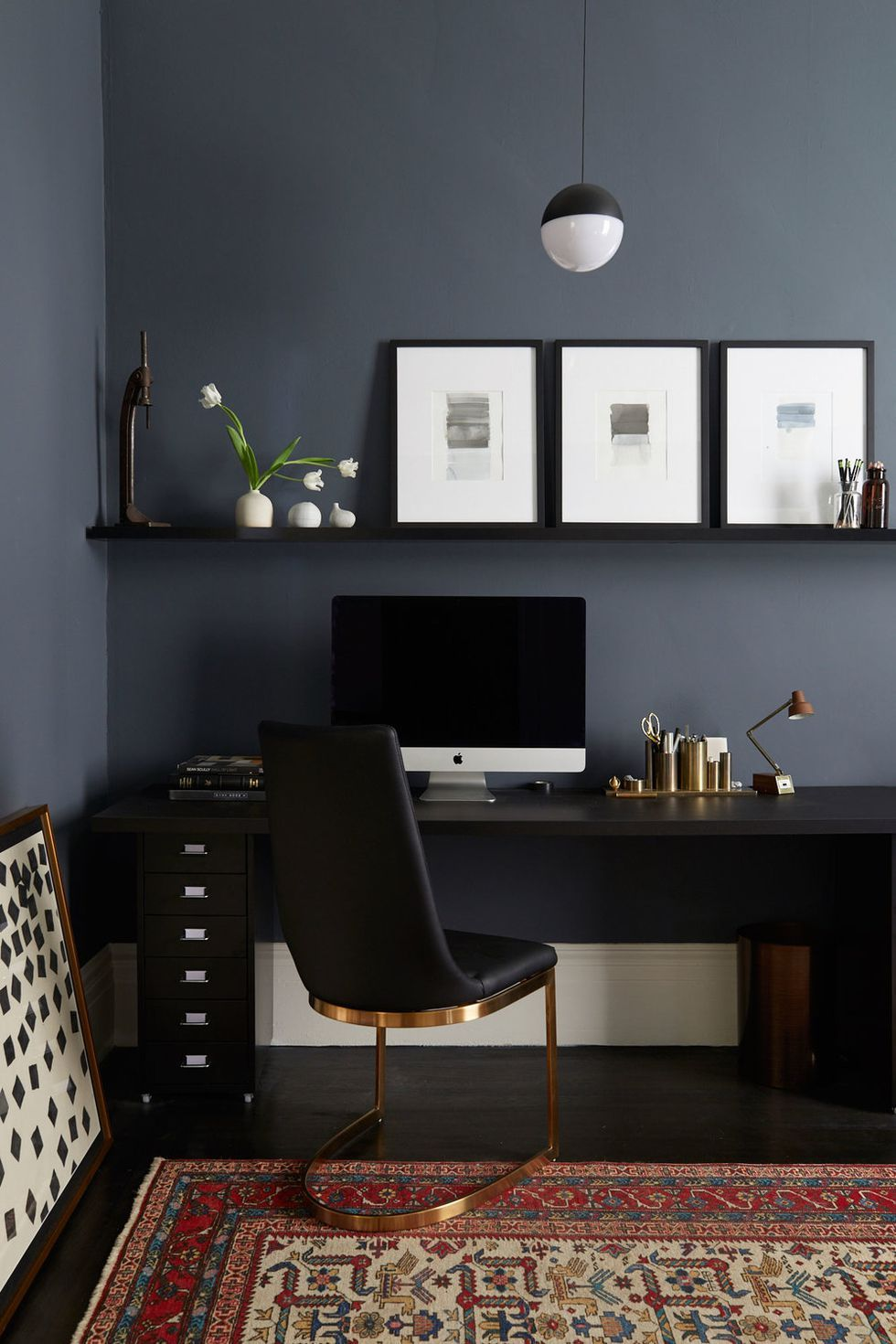 Create A Sleek Work Space To Boost Your Creativity Black Isn T Usually Our First Choice For Wall Office Interior Design Home Office Design Modern Home Office